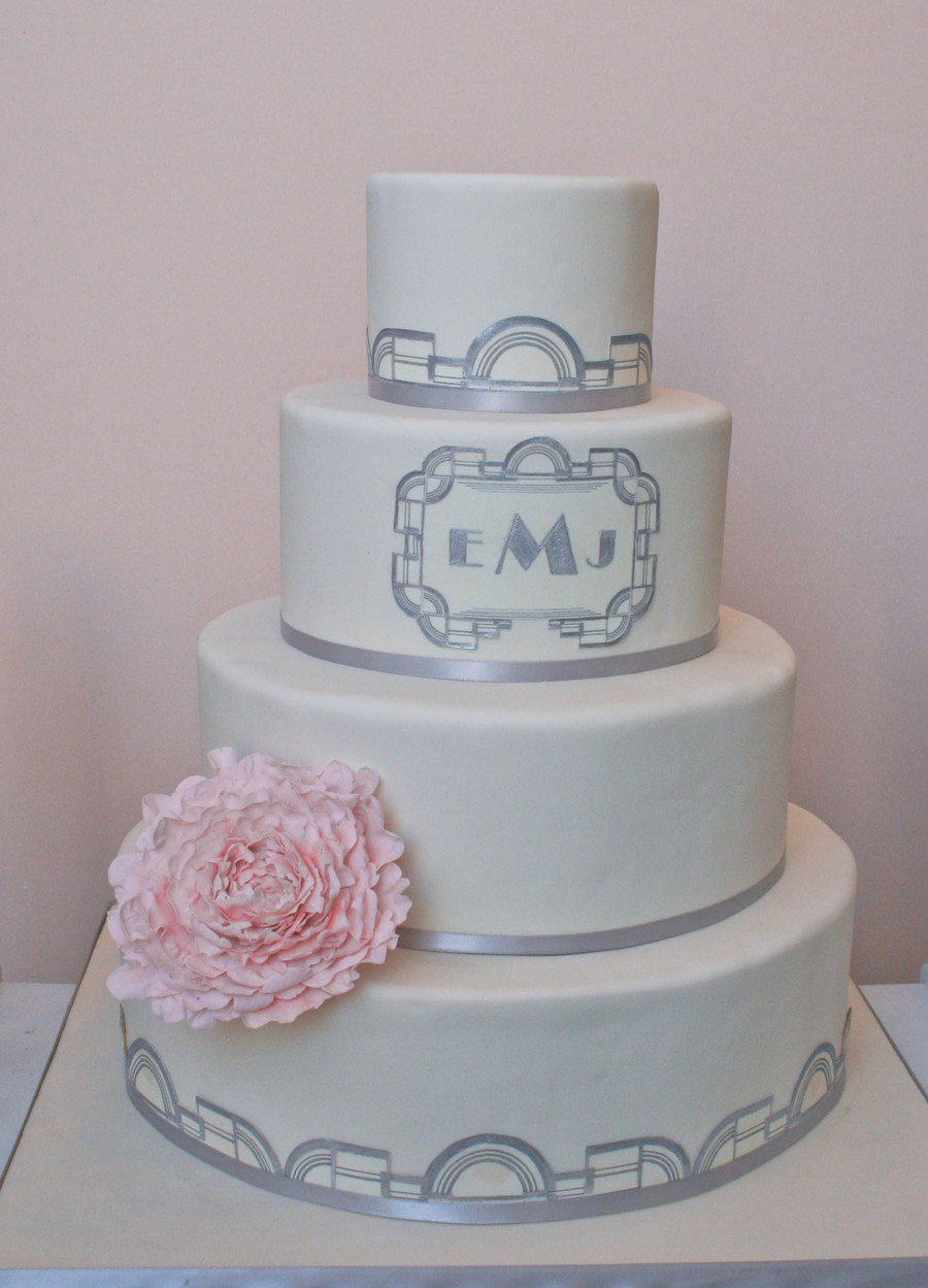 Art Deco Inspired Cake With Pink Sugar Peony on Cake Central