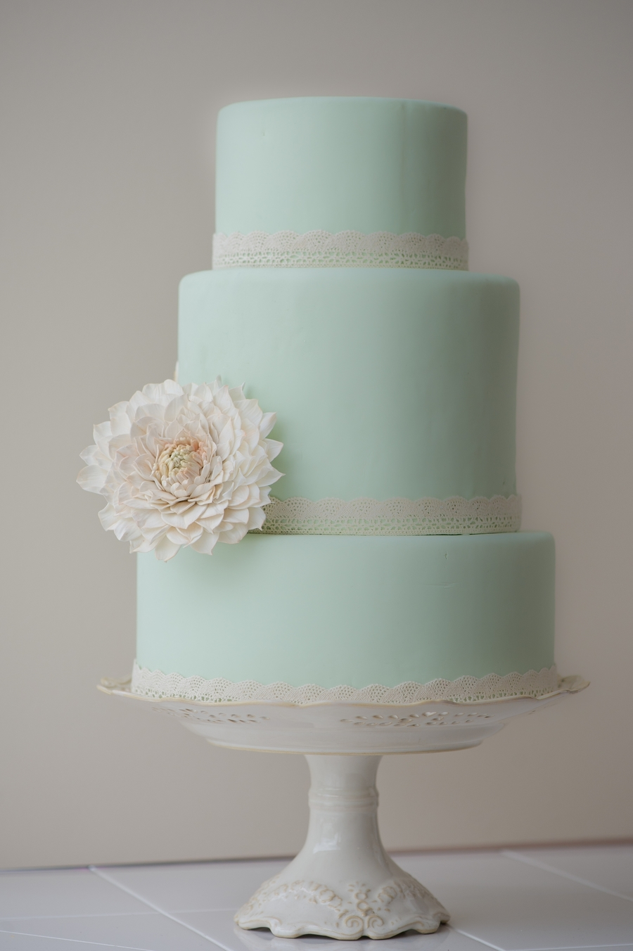 Mint Green Cake With Vintage Sugar Dahlia on Cake Central