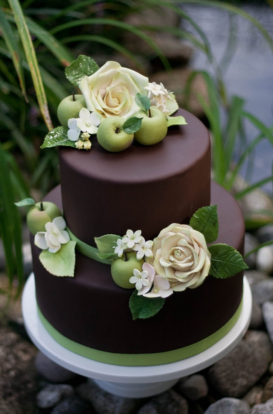 Chocolate Brown With Fall Foliage on Cake Central