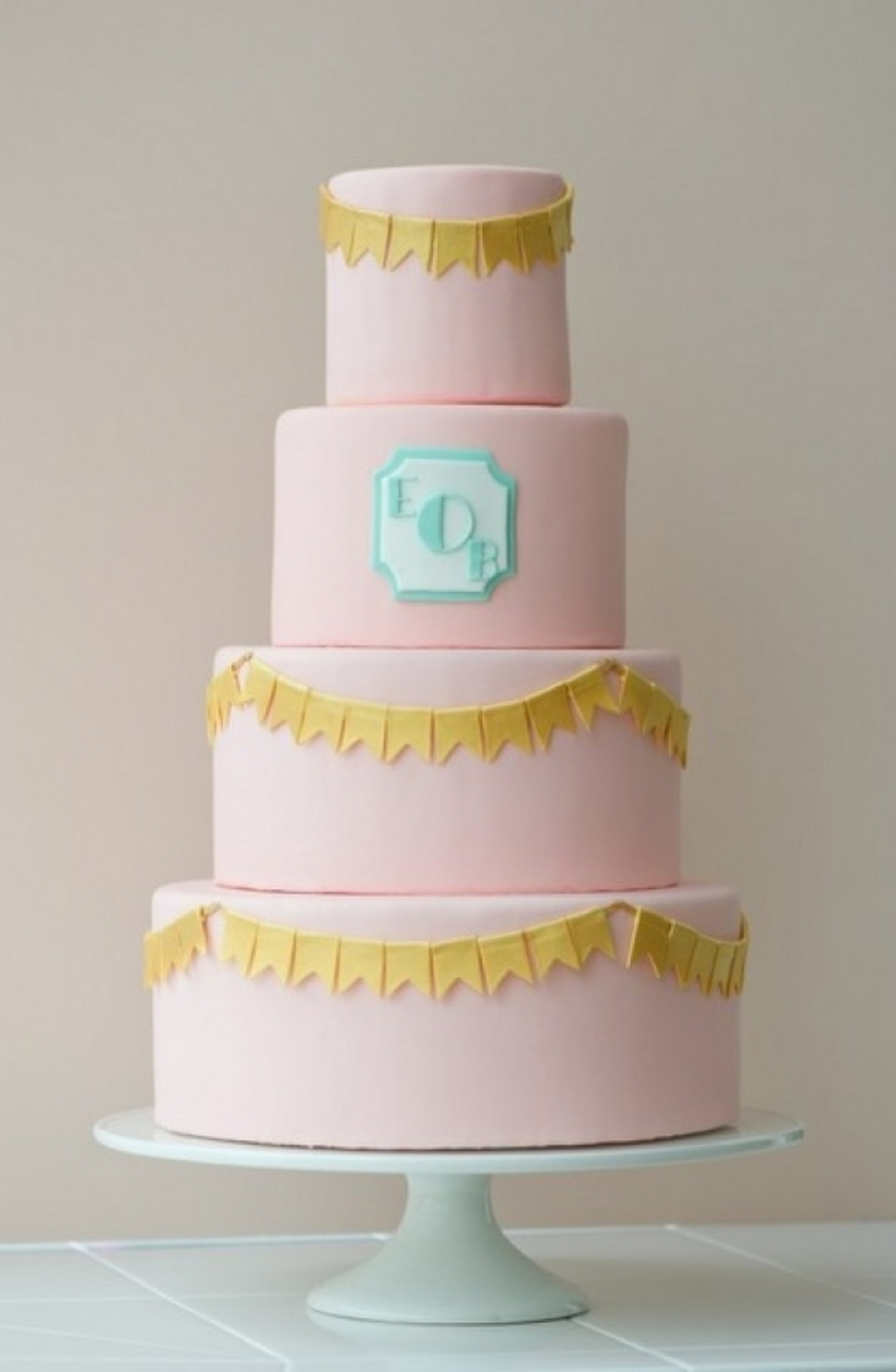 Pink, Aqua, And Gold Cake on Cake Central