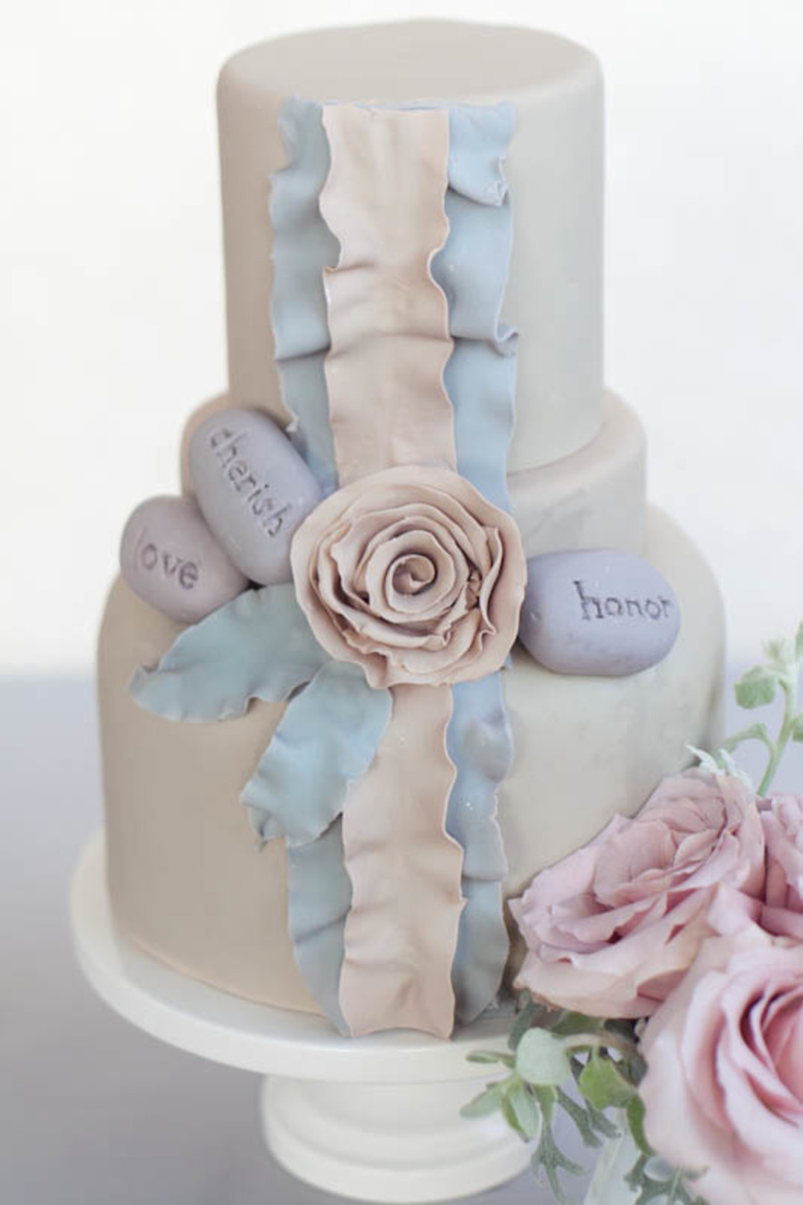 Shades Of Gray Ruffle Cake With Edible Stones  on Cake Central