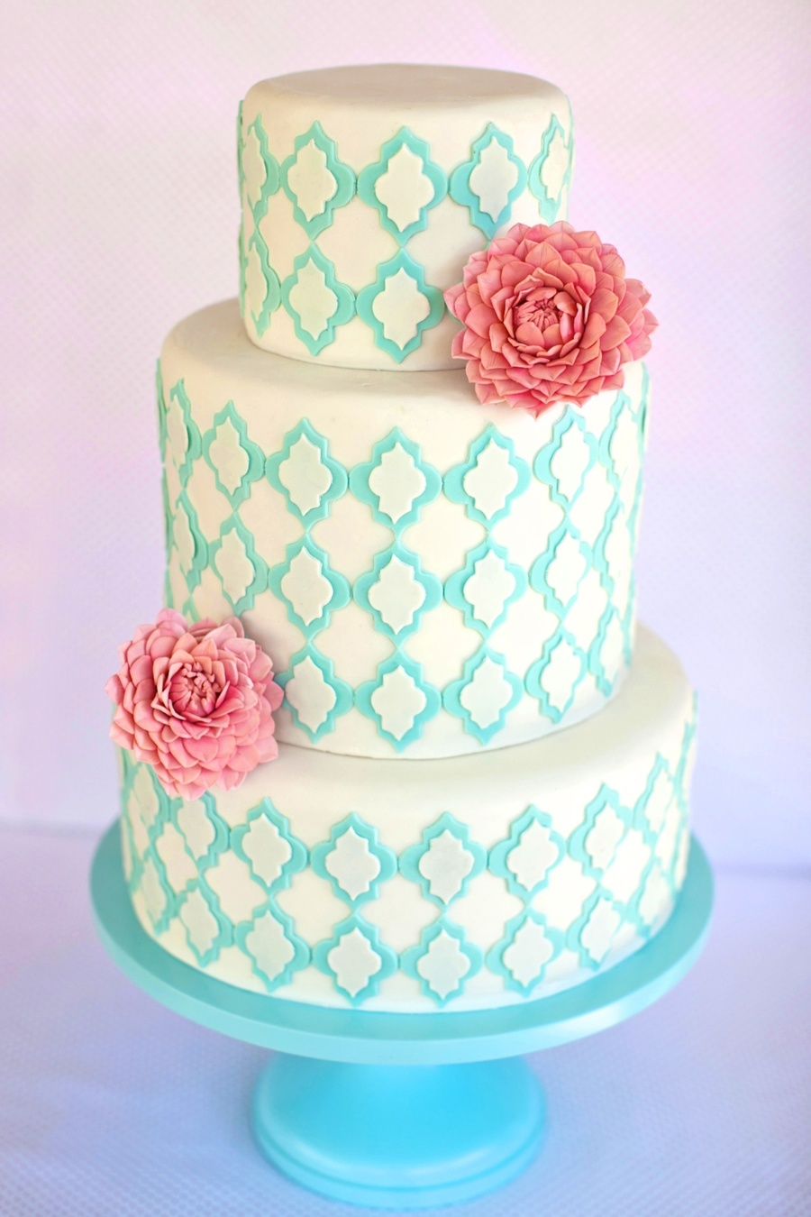 Pink Dahlia With Aqua Lattice Cake on Cake Central