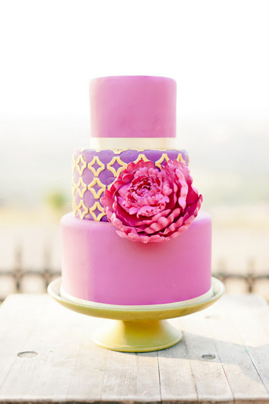 Pink On Purple With Giant Peony And Gold on Cake Central