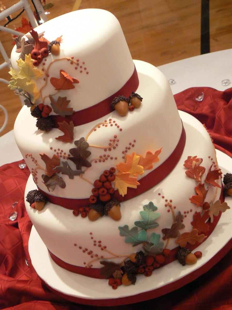 wedding cake autumn leaves fall leaves cakecentral 21764