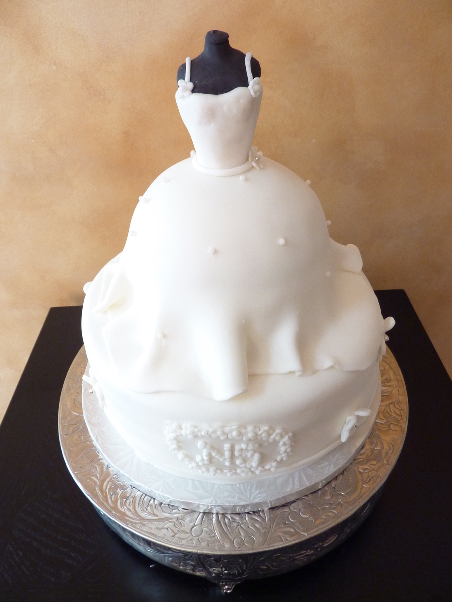Bridal Shower Cake Of Bridal Gown On Mannequin on Cake Central