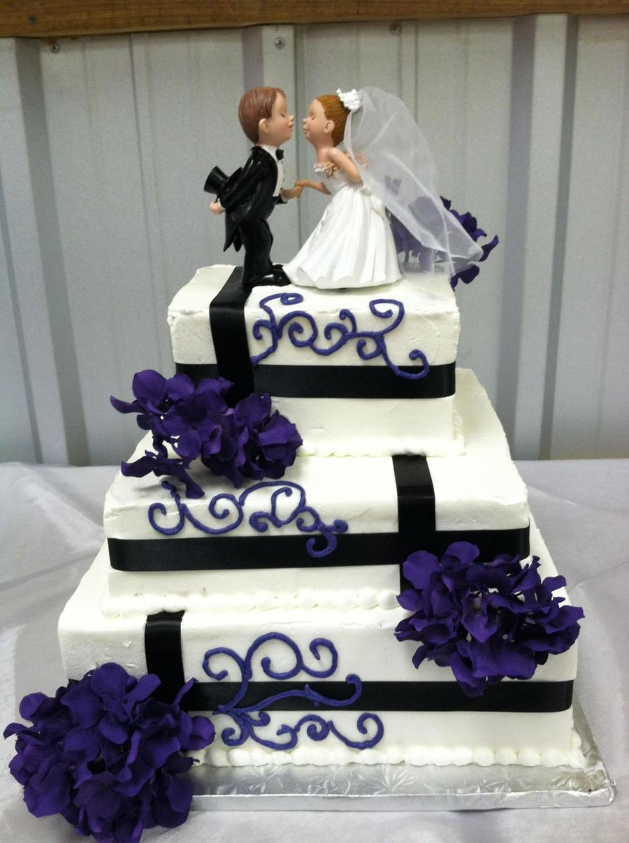 Purple And Black Wedding Cake Square on Cake Central