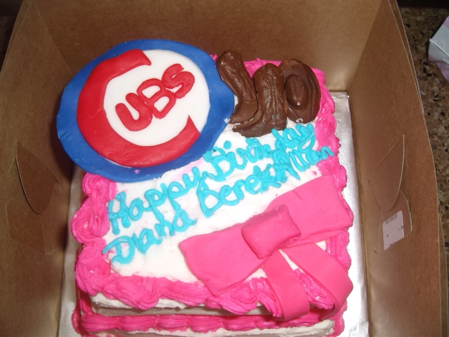 Pleasant Birthday Cake For A Cub Fan Cowboy And A Girl Who Loves Pink Funny Birthday Cards Online Aboleapandamsfinfo