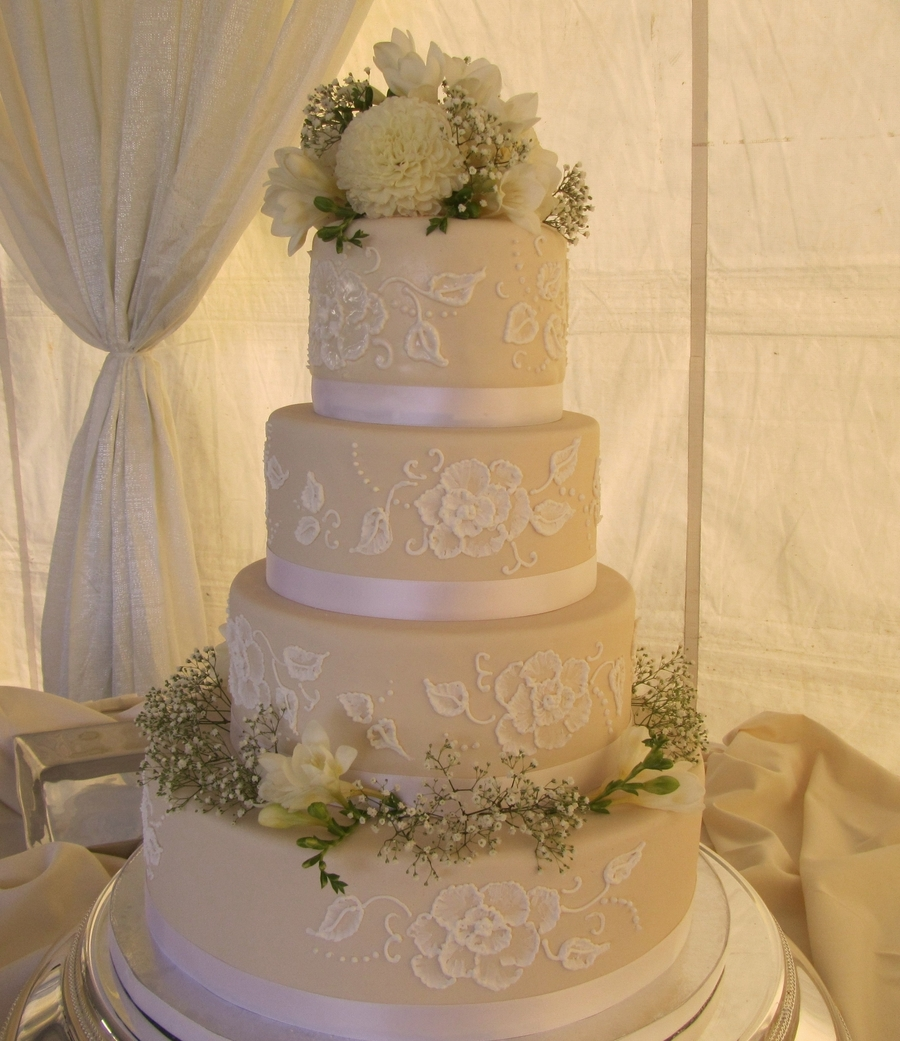 Ivory Cake With Brush Embroidery on Cake Central