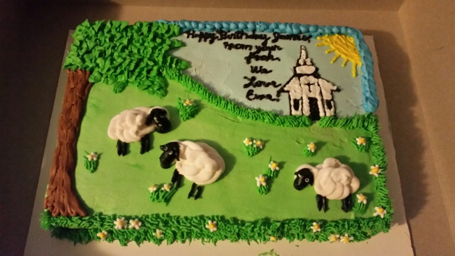 Vanilla Cake And Buttercream Icing Birthday Cake For A Pastor From