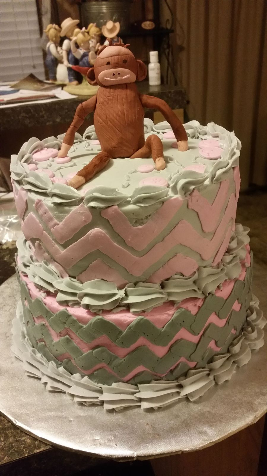 My First Sock Monkey Cake For A Little Girls Baby Shower Top Tier Is