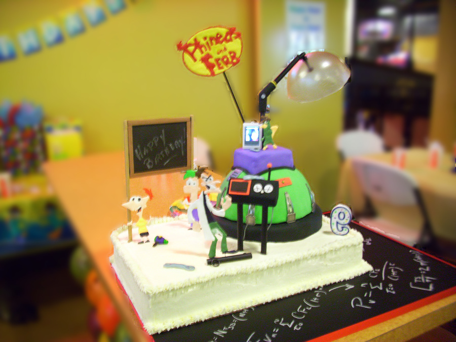 Phineas And Ferb Cake For My Sons 9Th Birthday Colorflow Characters And Logo on Cake Central