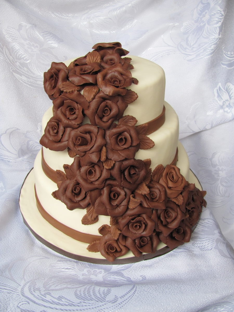 Brown And Ivory Wedding Cake on Cake Central
