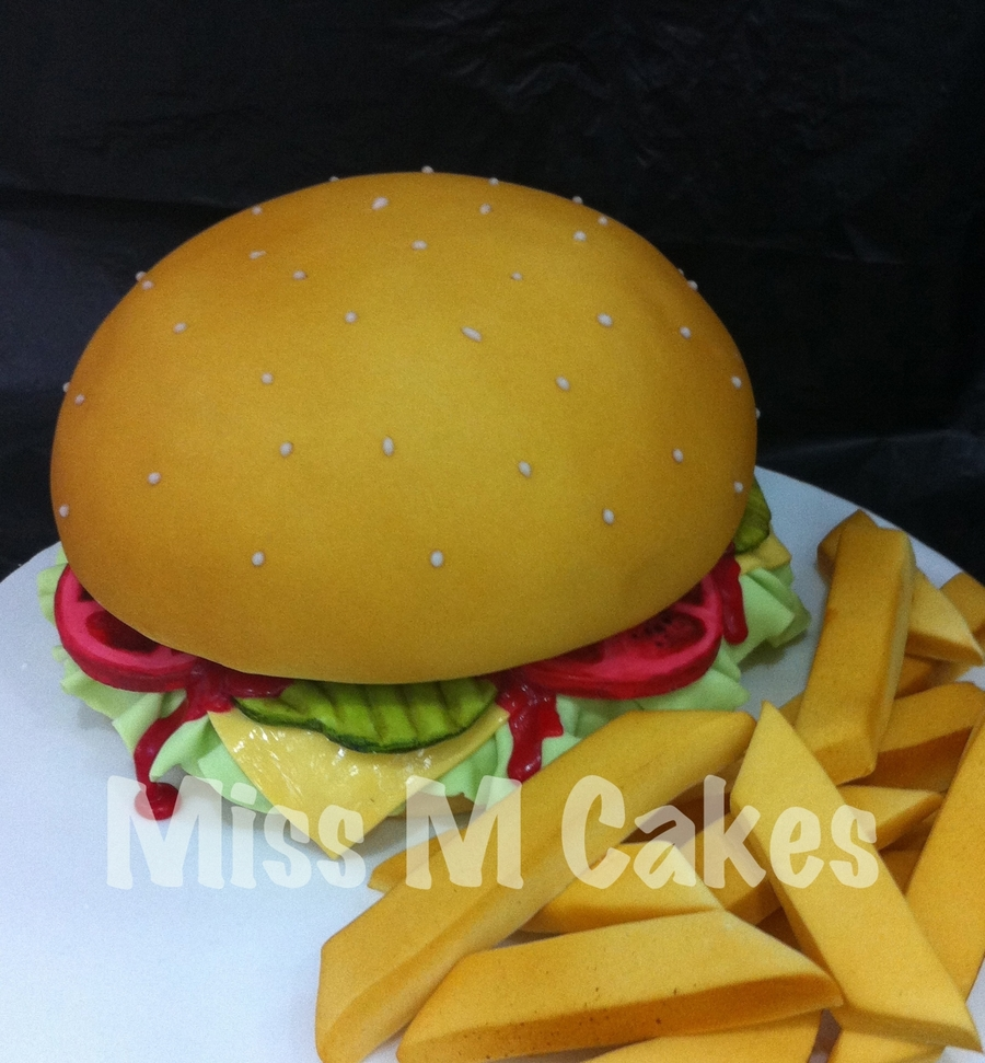 Cheeseburger & Fries on Cake Central