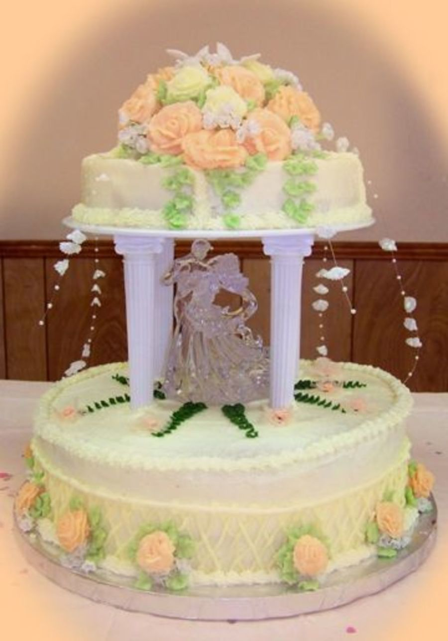 peach wedding cake gallery gazebo wedding cake cakecentral 18146