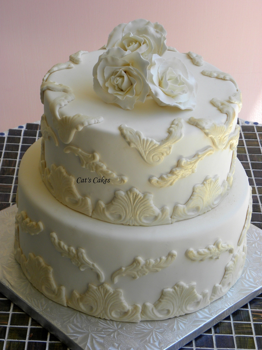 Creme And Gold Wedding Cake on Cake Central