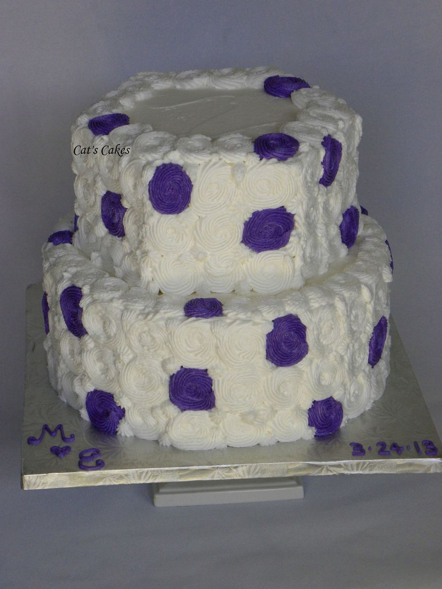 White And Purple Swirl Wedding Cake  on Cake Central