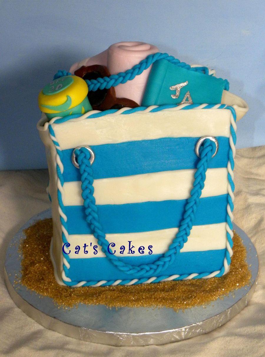 Jayne's Beach Bag Birthday Cake - CakeCentral.com