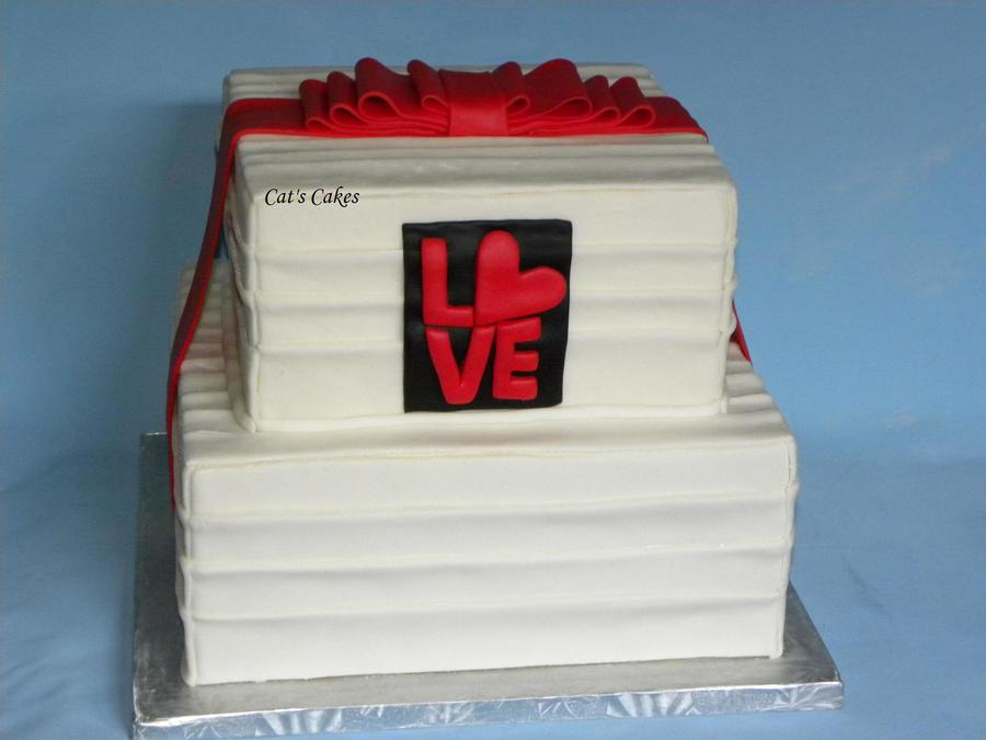 Valentines Wedding Cake Covered In Mmf And Topped With A Fondant Bow And Fondant Love Plaque on Cake Central