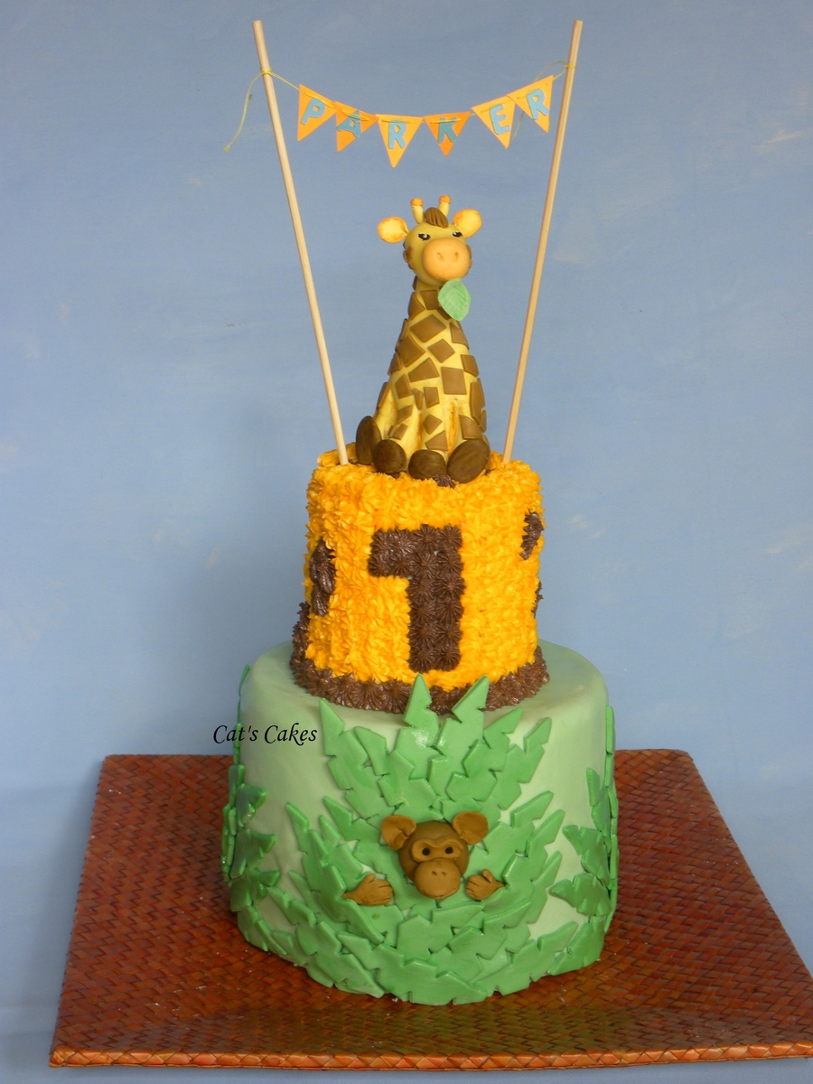 Giraffe Babys 1St Birthday Cake CakeCentralcom
