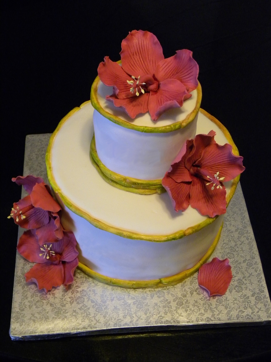 Hawaiian Hibiscus Bridal Shower Cake on Cake Central