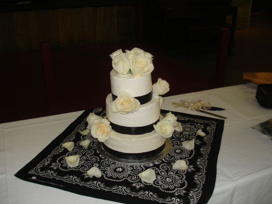Three Tier Cake With Fresh Roses  on Cake Central