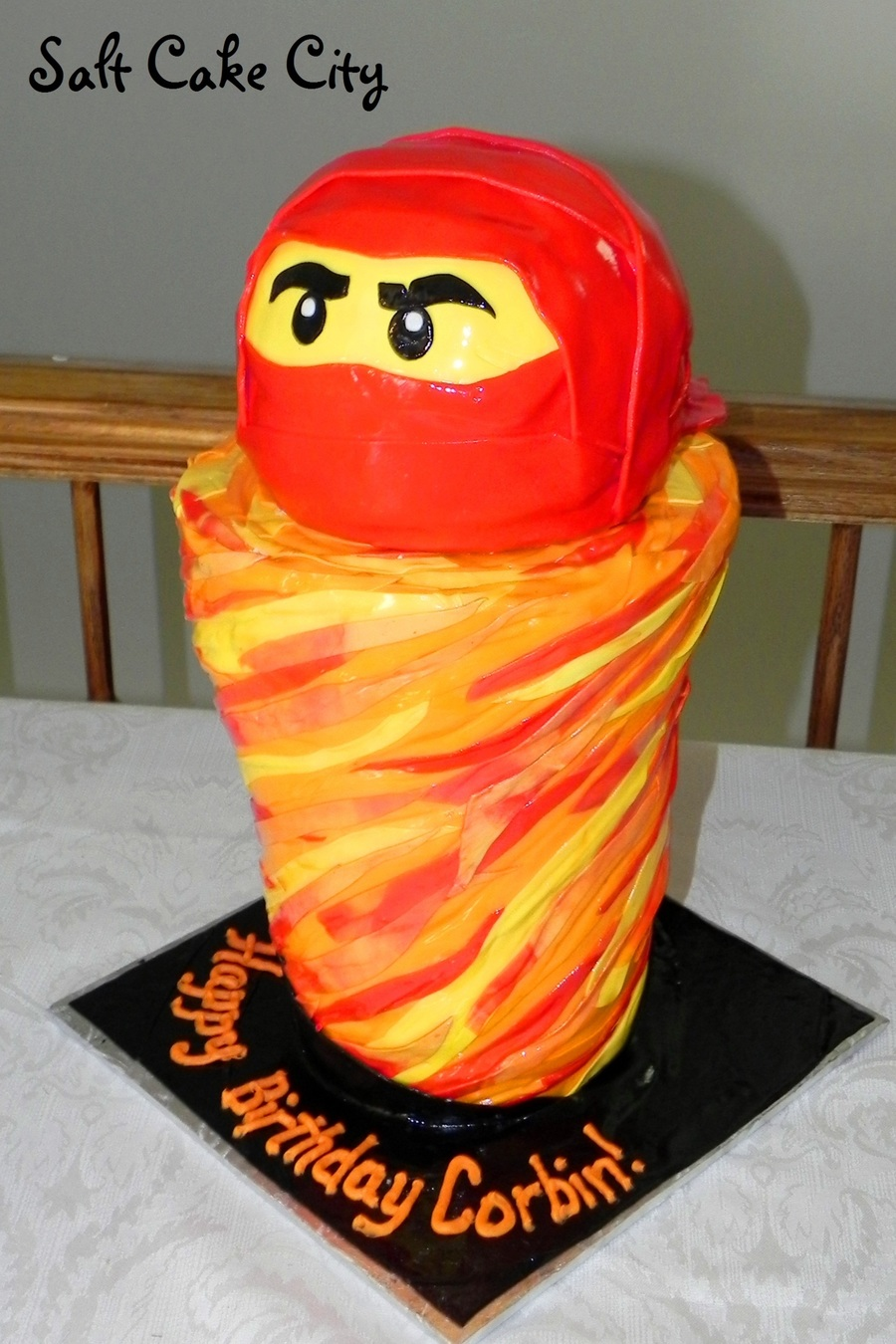 Red Ninjago Tornado Birthday Cake on Cake Central