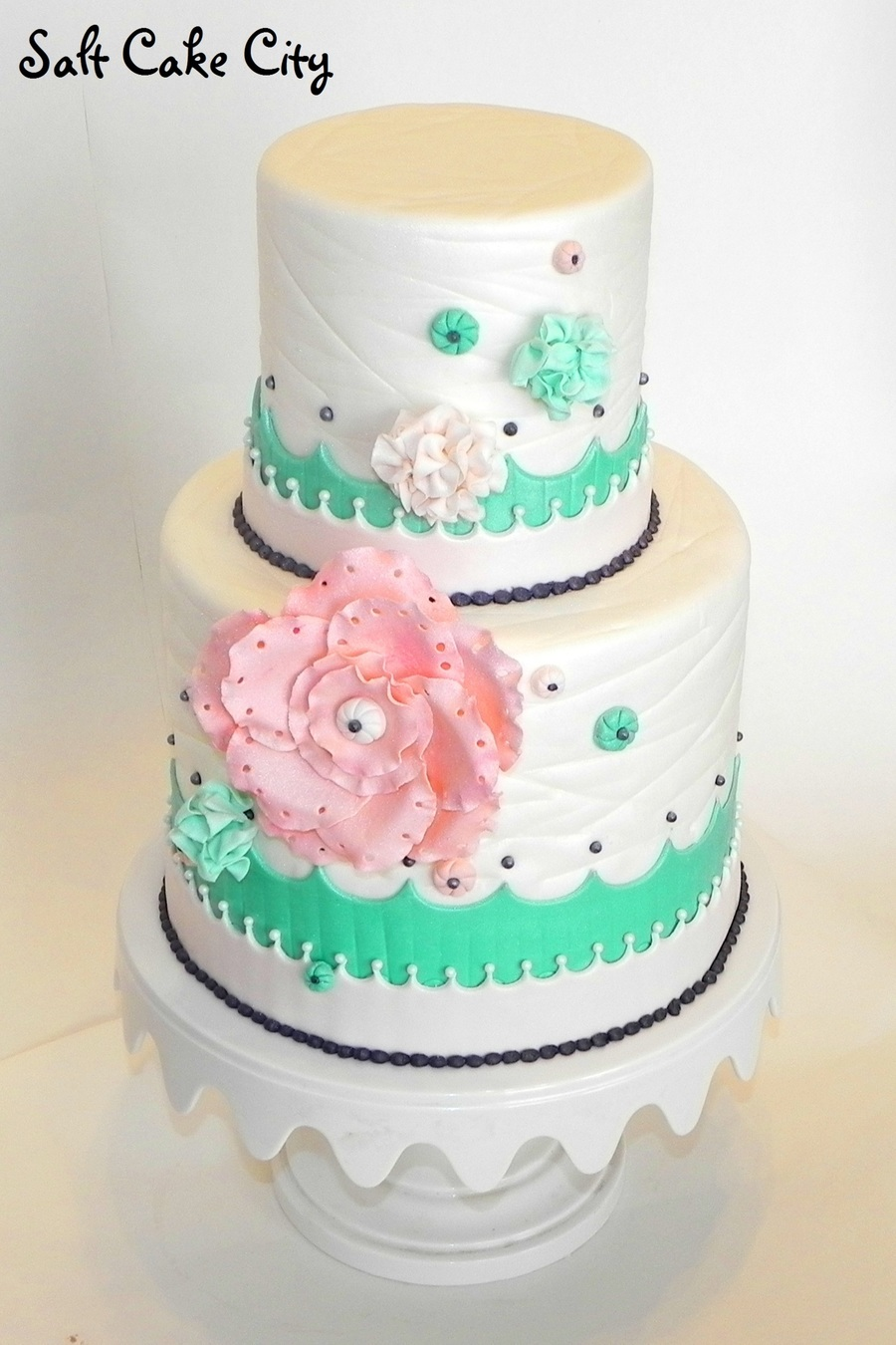 Peach And Green Wedding Cake