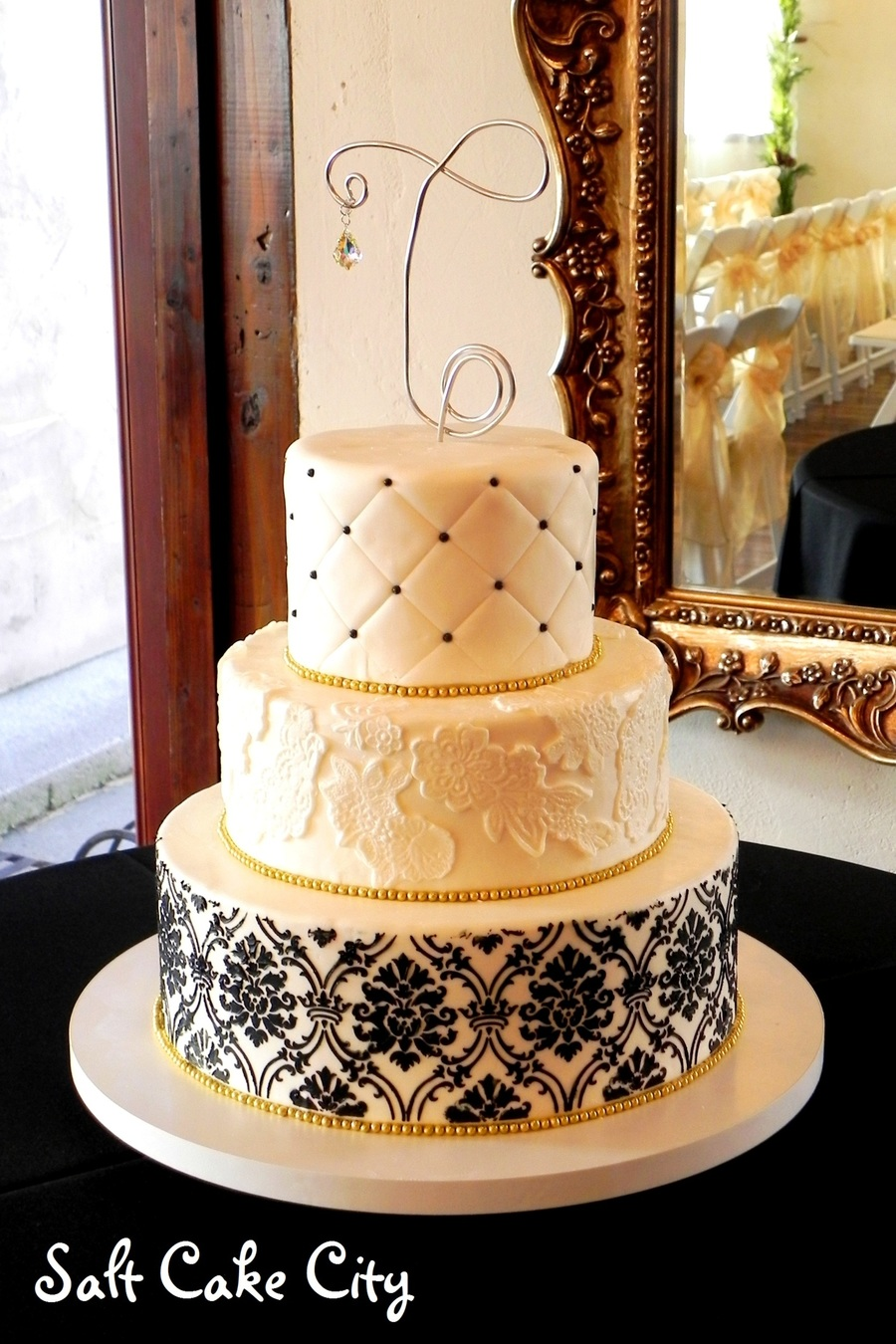 Black & Gold Wedding Cake on Cake Central