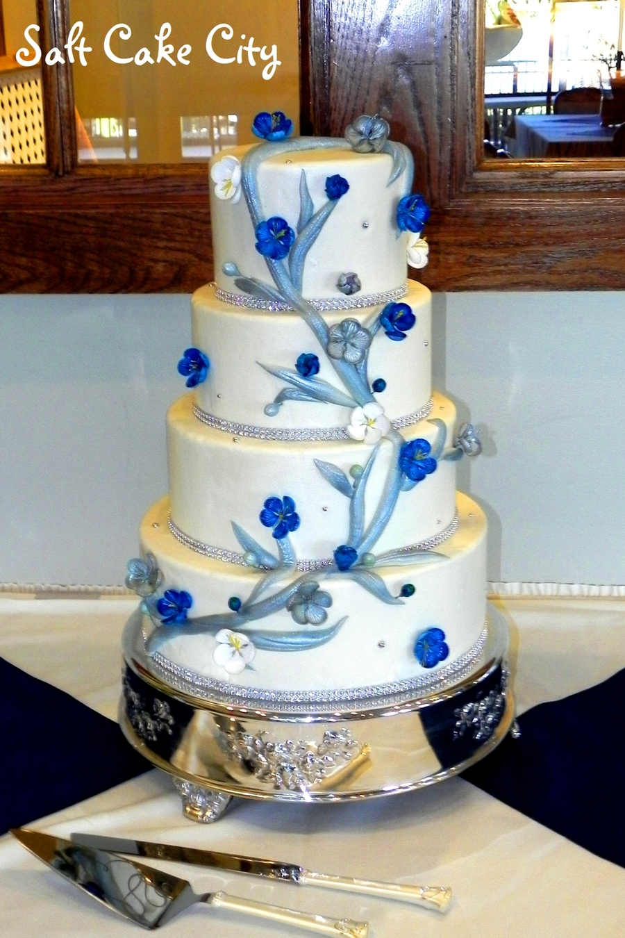 Silver Branch Wedding Cake  on Cake Central