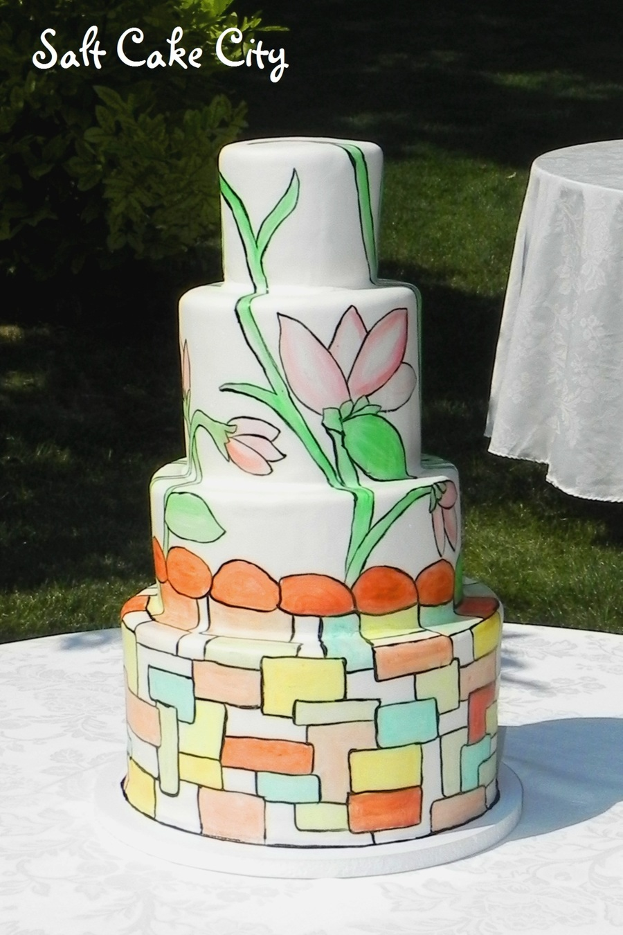 Hand Painted Stained Glass Wedding Cake on Cake Central