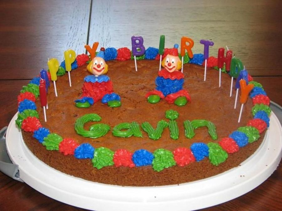 Awe Inspiring Birthday Cookie Cake With Clowns Cakecentral Com Personalised Birthday Cards Cominlily Jamesorg
