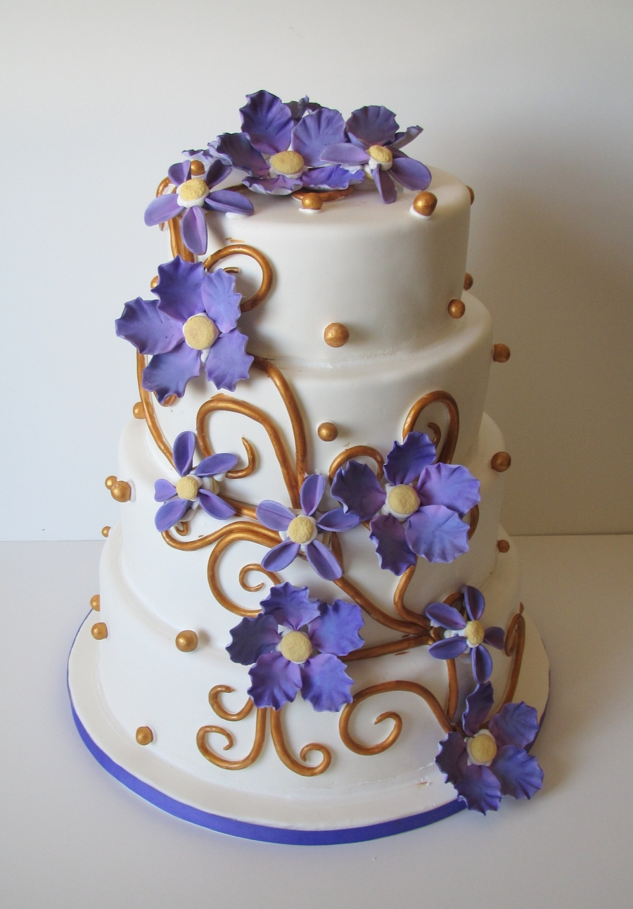 Purple And Gold Wedding on Cake Central