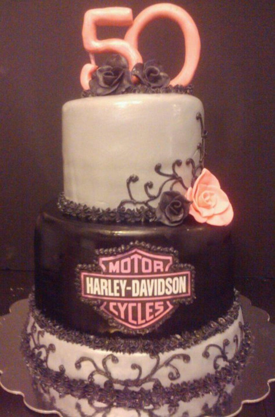 Harley Davidson Womens 50Th Birthday Cake On Central