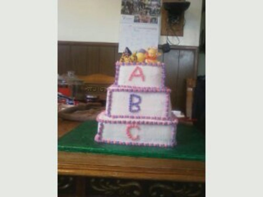 Abc Block Cake 3 Tier With Winnie The Pooh Characters on Cake Central