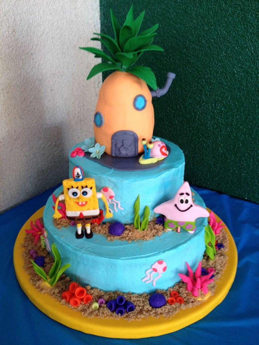 Tremendous Spongebob Birthday Cake Cakecentral Com Funny Birthday Cards Online Fluifree Goldxyz