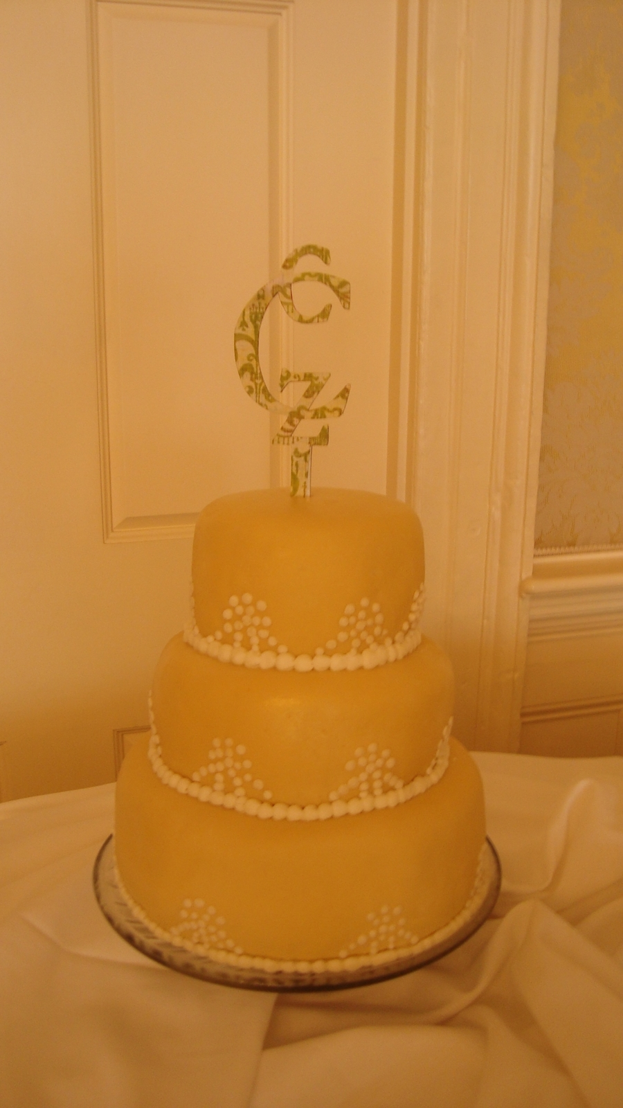 Wedding Cake With Pearl Embellishments.. on Cake Central