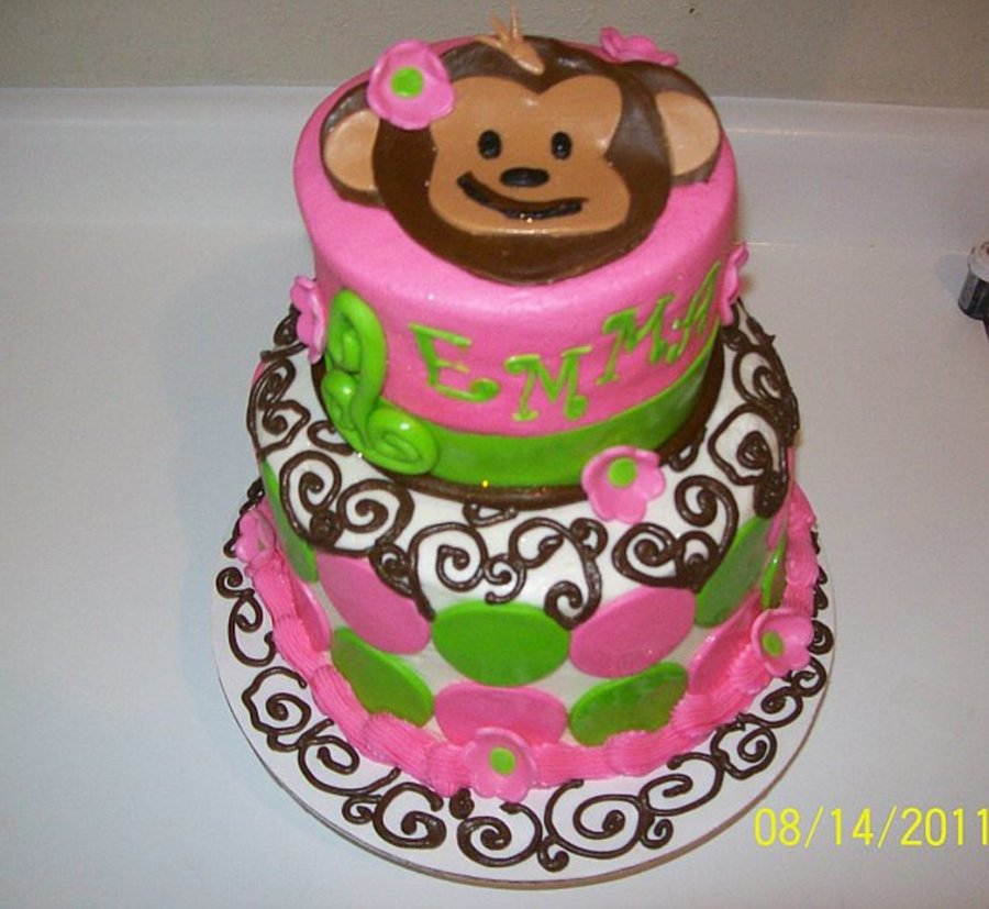 Tremendous Mod Monkey First Birthday Cakecentral Com Personalised Birthday Cards Veneteletsinfo