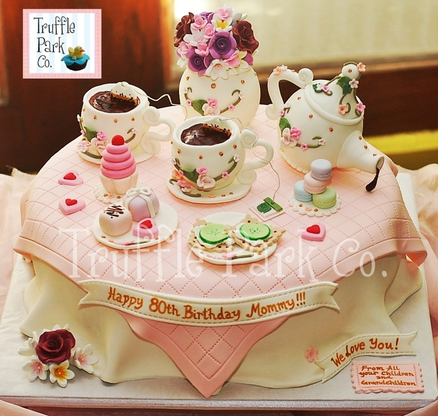 Tea Party-Themed Birthday Cake on Cake Central