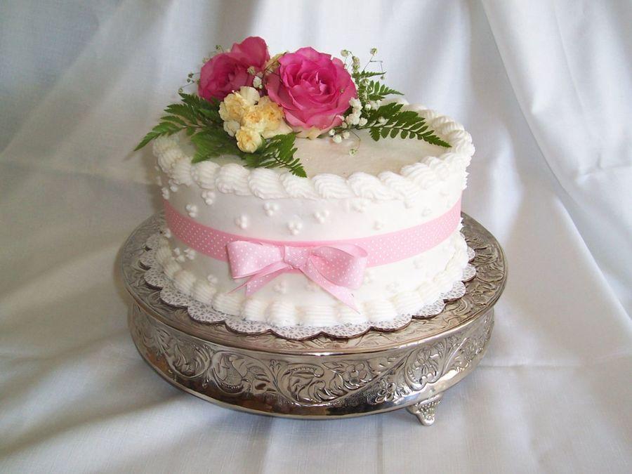 Astonishing Fresh Flower Birthday Cake In Pink Cakecentral Com Funny Birthday Cards Online Elaedamsfinfo