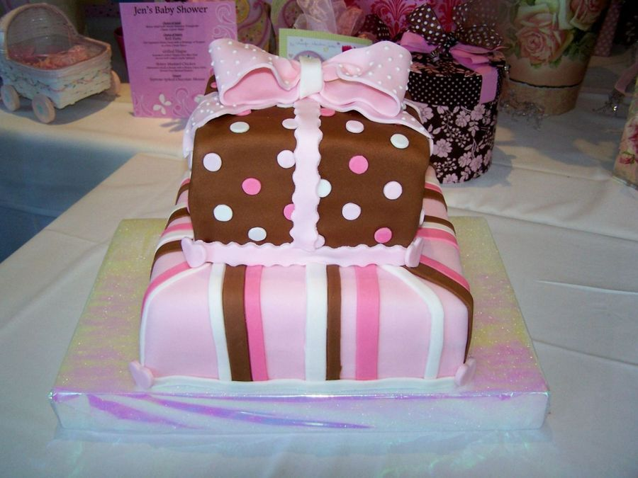 Pink And Brown Box on Cake Central