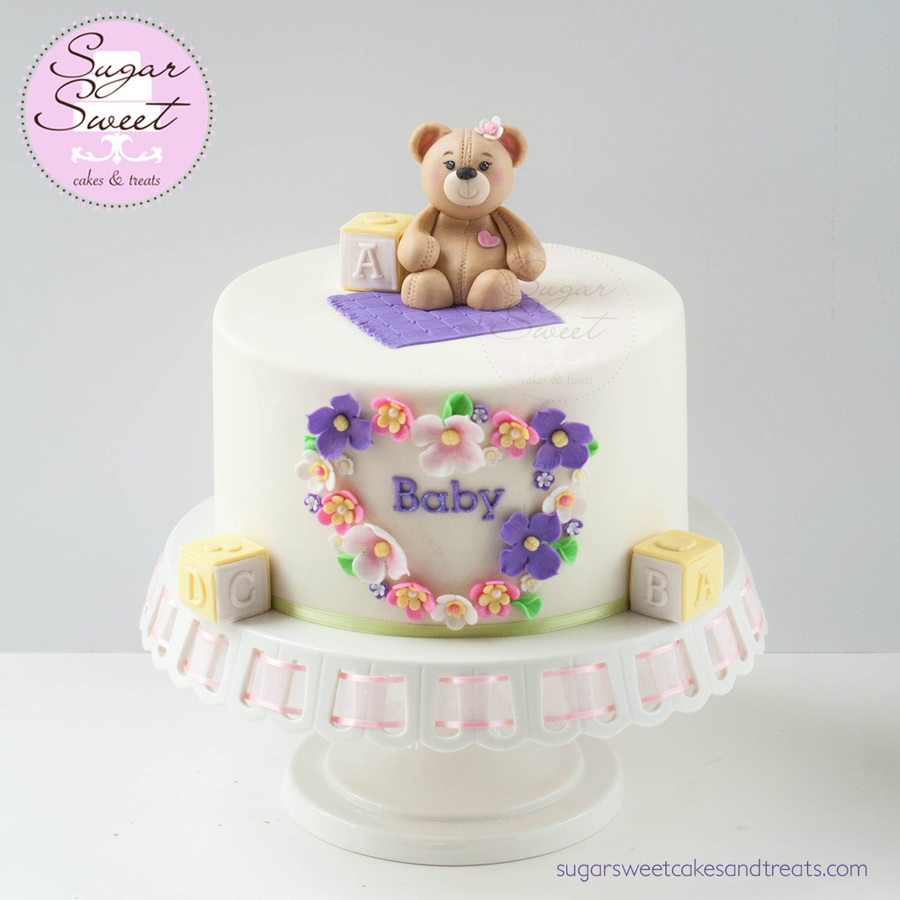 teddy bear baby shower cake