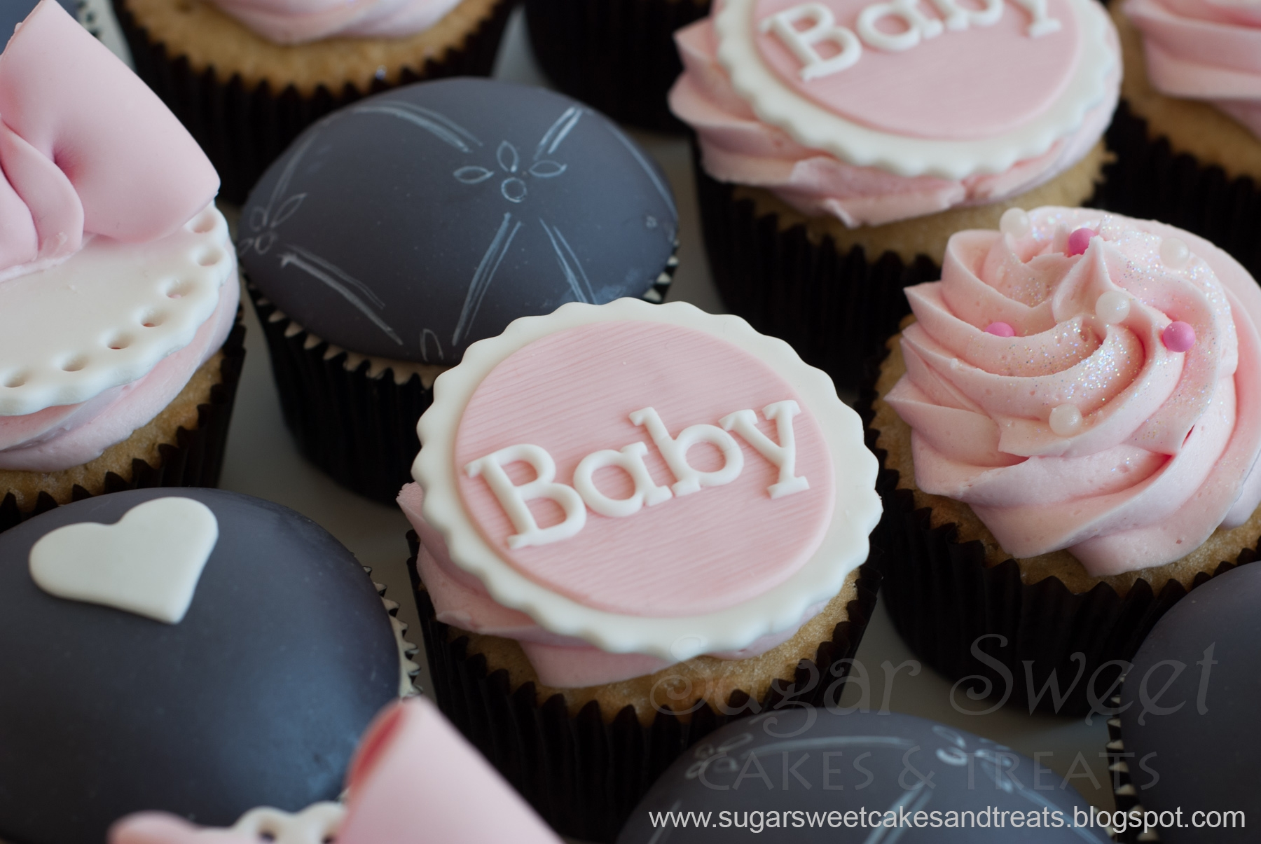 Gray And Pink Baby Shower Cupcakes CakeCentralcom