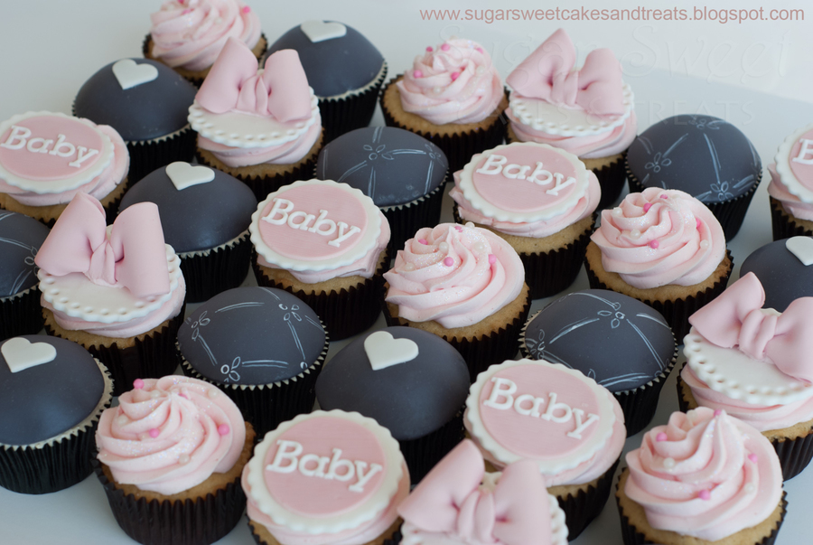 Gray And Pink Baby Shower Cupcakes Cakecentral