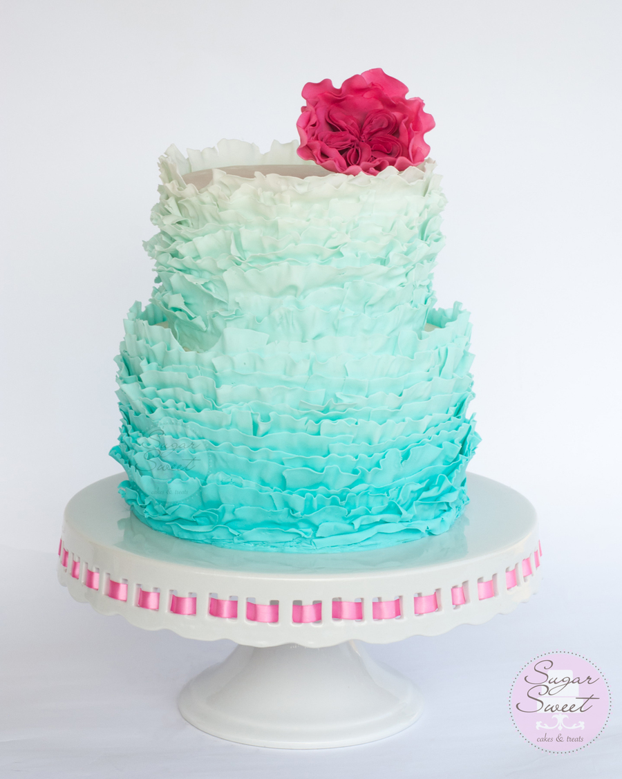 Aquamarine Ombre Frills Cake With Cabbage Rose Cakecentral