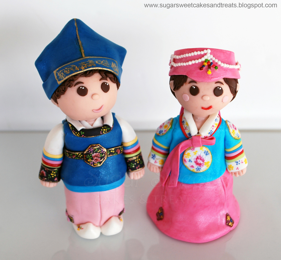 Hanbok Dol Figurines - Boy And Girl - CakeCentral.com