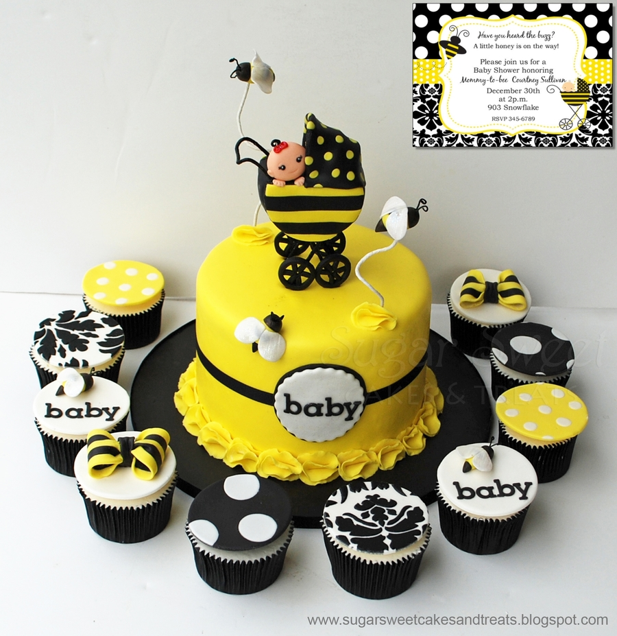 for a bumble bee themed baby shower with baby stroller and mmf bees