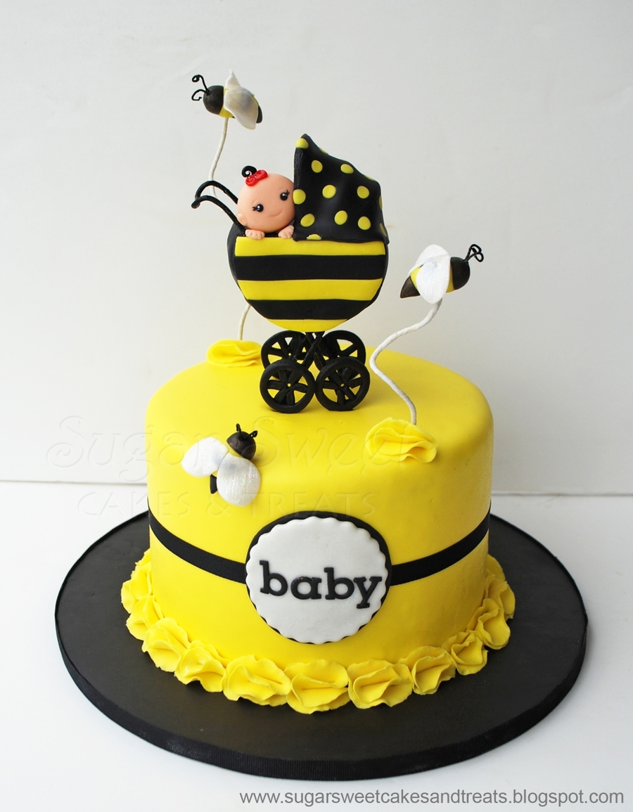 For A Bumble Bee Themed Baby Shower With Stroller And MMF Bees Also Made 2 Dozen Cupcakes To Match Design Was Inspired By The Invitation