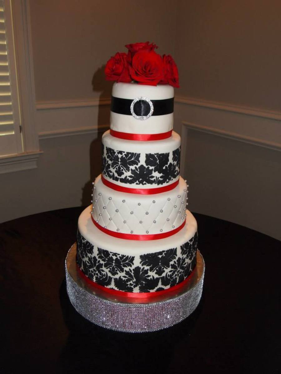 My Daughters Wedding Cake On June 15 2013 14108 And 6 Tiers The Cakes Were Made From Scratch With Two Tiers Being Red Velvet Ca on Cake Central