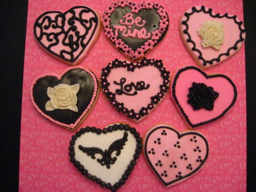 Black And Pink Valentine Cookies on Cake Central