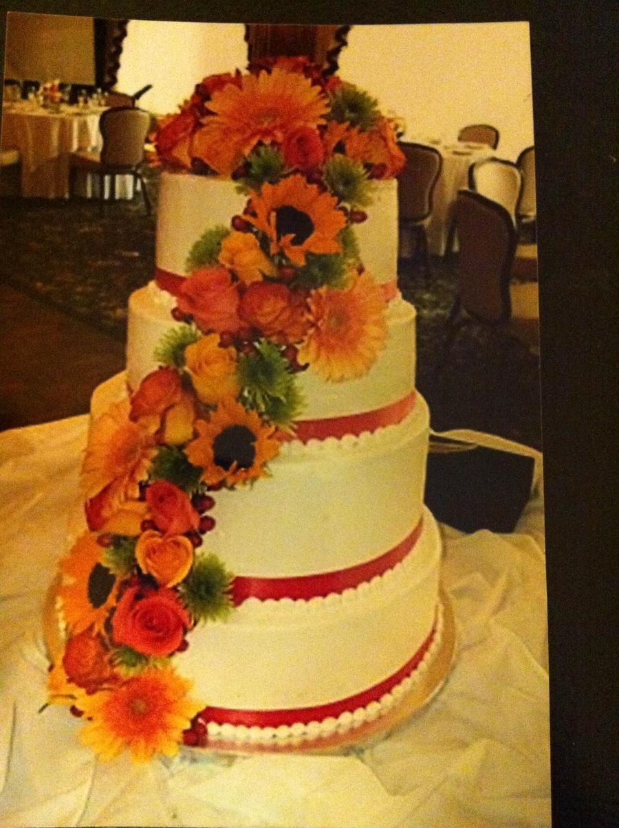 Fall Flower Wedding Cake - CakeCentral.com